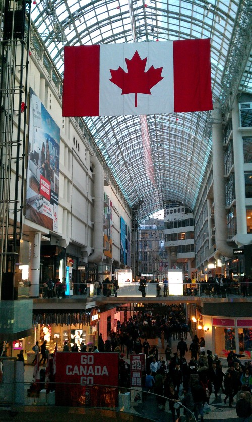Support for Team Canada on display at the Toronto Eaton Centre